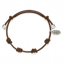 Cotton Cord Bracelet in Brown Waxed Cotton and Sterling Silver