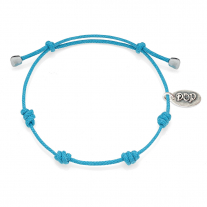 Cotton Cord Bracelet in Turquoise Waxed Cotton and Sterling Silver