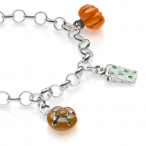 Rolo Light Bracelet with Lombardy Charms in Sterling Silver and Enamel