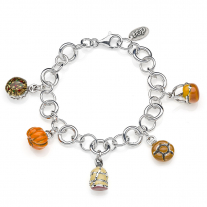 Rolo Luxury Bracelet with Lombardy Charms in Sterling Silver and Enamel