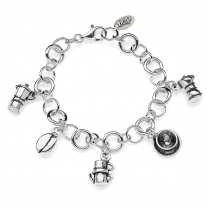 Rolo Luxury Bracelet with Moka Charms in Sterling Silver