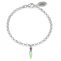 Rolo Mini Bracelet with Mini Chili Pepper Lucky Charm in Sterling Silver and Green Enamel