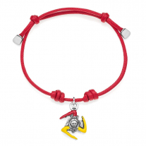 Cotton Cord Bracelet with Sicilian Trinacria Charm in Sterling Silver and Enamel