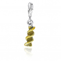 Fusilli Pasta Charm in Sterling Silver and Enamel