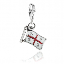 Sardinia Flag Charm in Sterling Silver and Enamel