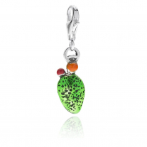 Prickly Pear Charm in Sterling Silver and Enamel