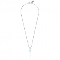 Necklace Boule 45 cm with Mini Chili Pepper Charm in Sterling Silver and Turquoise Enamel