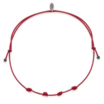 Necklace in Waxed Cotton and Sterling Silver