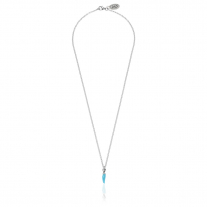 Rolo Micro 45 cm Necklace with Mini Chili Pepper Lucky Charm Sterling Silver Sterling and Turquoise Enamel