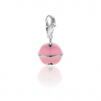 Bell Charm in Sterling Silver and Pink Enamel