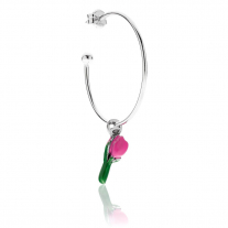 Large Hoop Single Earring with Tulip Charm in Sterling Silver and Pink Enamel