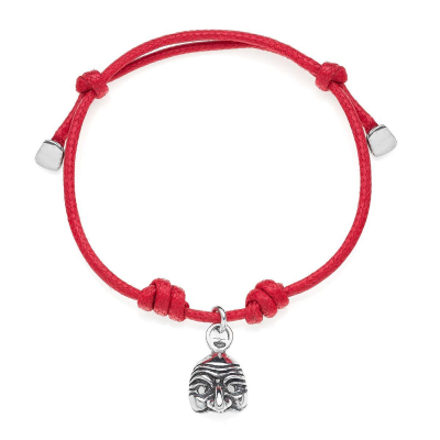 Cotton Cord Bracelet with Pulcinella Charm in Sterling Silver