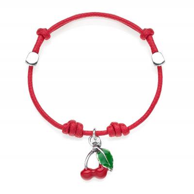 Cherry Bracelet in Sterling Silver and Enamel