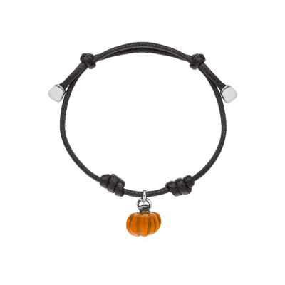 Cotton Cord Bracelet with Pumpkin Charm in Sterling Silver and Enamel
