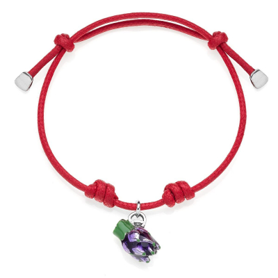 Artichoke Cotton Rope Bracelet in Sterling Silver and Enamel