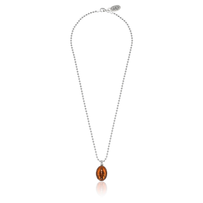 Boule Necklace 45cm with Miraculous Madonna Charm in Sterling Silver and Orange Enamel