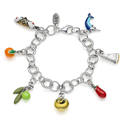 Bracelet with Mediterranean Diet Charms in Sterling Silver and Enamel
