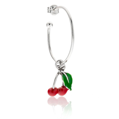 Cherry Single Earring in Sterling Silver and Enamel