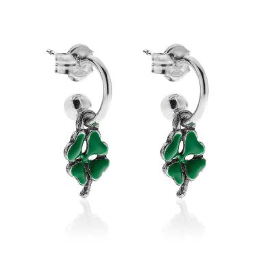 Earrings Mini Four-leaf in  Sterling Silver and Enamel