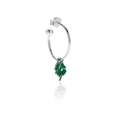 Single Earring with  four-leaf clover charm in Sterling Silver and Enamel