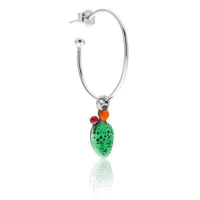 Prickly Pear Single Earring in Sterling Silver & Enamel