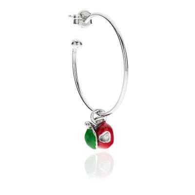 Apple Heart Single Earring in Sterling Silver and Enamel
