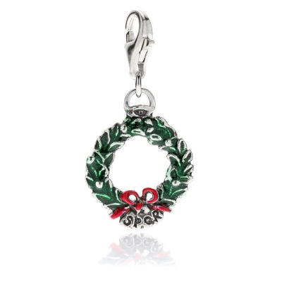 Laurel Wreath Charm in Sterling Silver and Enamel