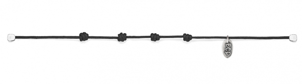 Cotton Cord Bracelet in Black Waxed Cotton and Sterling Silver