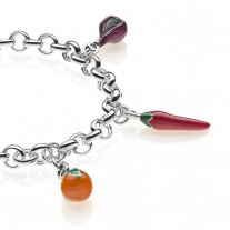 Rolo Premium Bracelet with Calabria Charms in Sterling Silver and Enamel