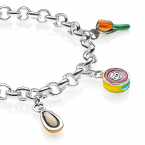 Rolo Premium Bracelet with Liguria Charms in Sterling Silver and Enamel
