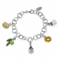 Rolo Luxury Bracelet with Puglia Charms in Sterling Silver and Enamel