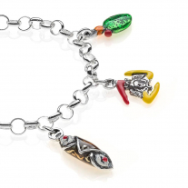 Rolo Light Bracelet with Sicilian Charms in Sterling Silver and Enamel