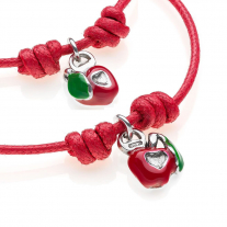 His and Hers Apple Heart Charm Cotton Rope Bracelets in Sterling Silver and Enamel