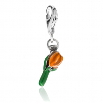 Tulip Charm in Sterling Silver and Orange Enamel