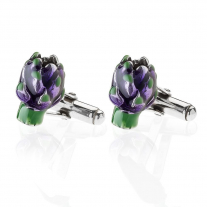 Artichoke Cufflinks in Sterling Silver and Enamel