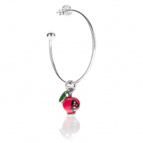 Large Hoop Single Earring with Pomegranate Charm in Sterling Silver and Enamel