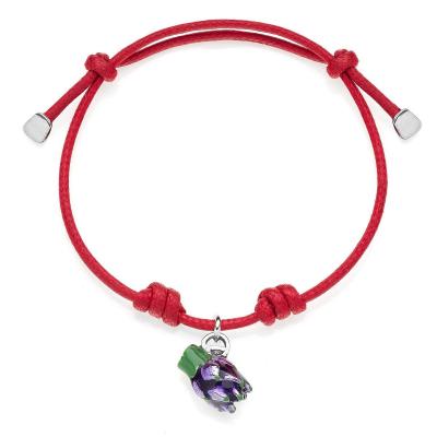 Artichoke Cotton Rope Bracelet in Sterling Silver and Enamel