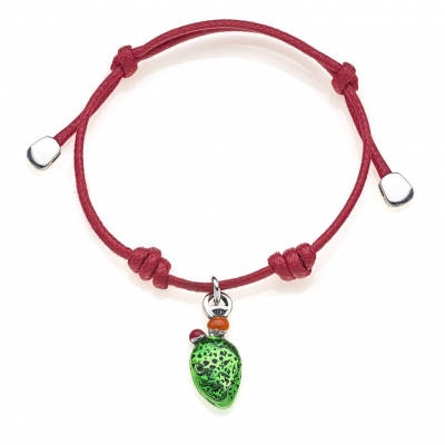 Cotton Cord Bracelet with Prickly Pear Charm in Sterling Silver and Enamel