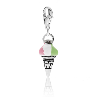 Cornet Ice Cream Charm in Sterling Silver and Enamel