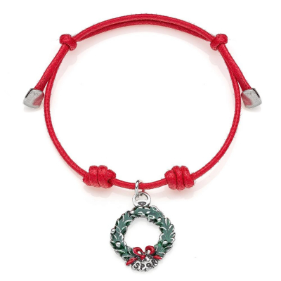 Cotton Cord Bracelet with Laurel Wreath Charm in Sterling Silver and Enamel