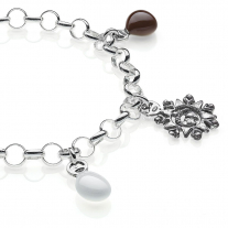 Rolo Light Bracelet with Abruzzo Charms in Sterling Silver and Enamel