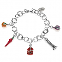 Rolo Luxury Bracelet with Calabria Charms in Sterling Silver and Enamel