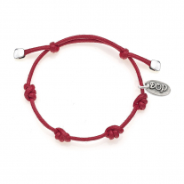 Cotton Cord Bracelet in Red Waxed Cotton and Sterling Silver