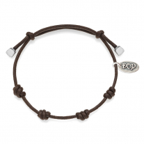 Cotton Cord Bracelet in Mocha Waxed Cotton and Sterling Silver