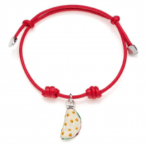 Cotton Cord Bracelet with Piadina Romagnola Charm in Sterling Silver and Enamel