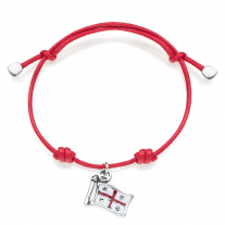 Cotton Cord Bracelet with Quattro Mori Charm in Sterling Silver and Enamel