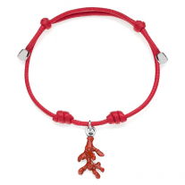Cotton Cord Bracelet with Coral Charm in Sterling Silver and Enamel