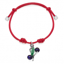 Cotton Cord Bracelet with Mirto Charm in Sterling Silver and Enamel
