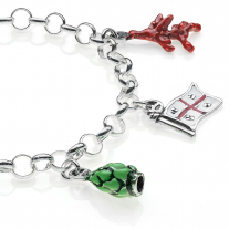 Rolo Light Bracelet with Sardinia Charms in Sterling Silver and Enamel