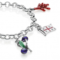Rolo Premium Bracelet with Sardinia Charms in Sterling Silver and Enamel